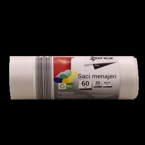 Saci menajeri Zorex Pro, 60L, transparent, 20 buc/rola